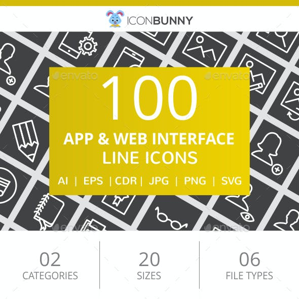 100 App & Web Interface Line Inverted Icons