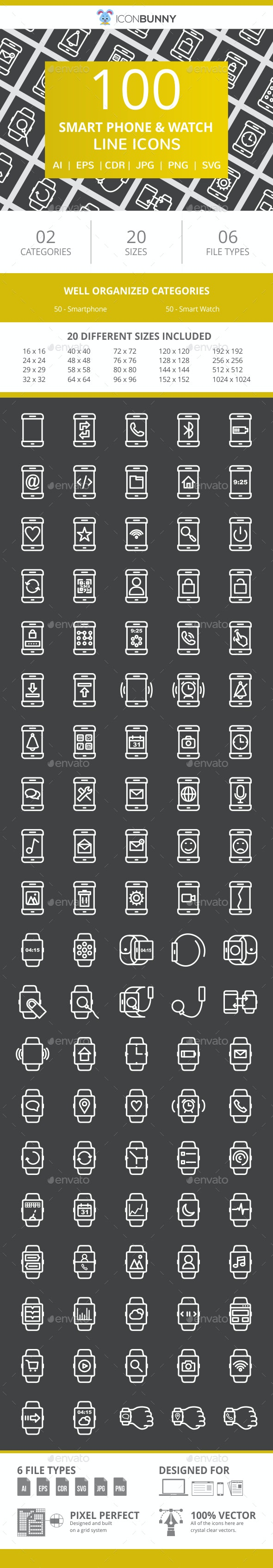 100 Smartphone & Smartwatch Line Inverted Icons - Icons
