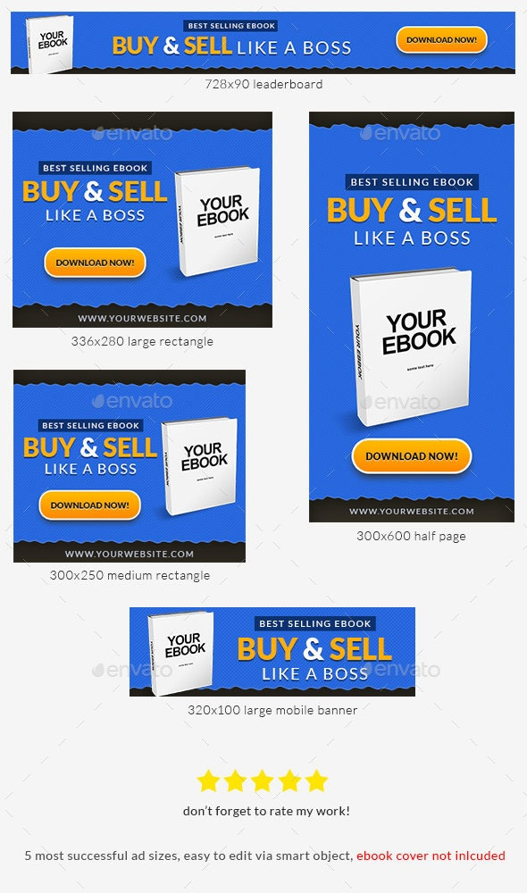 Ebook Banner Ad Photoshop Template - Banners & Ads Web Elements