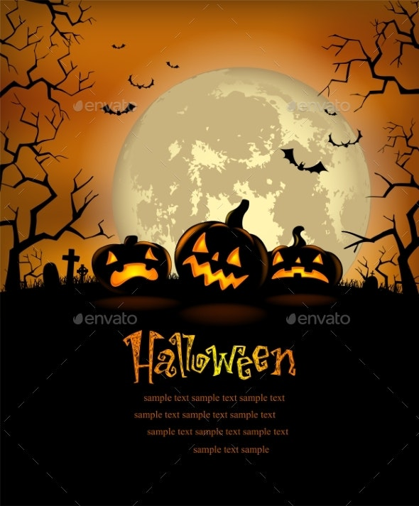 Halloween Background with Scary Pumpkins - Halloween Seasons/Holidays