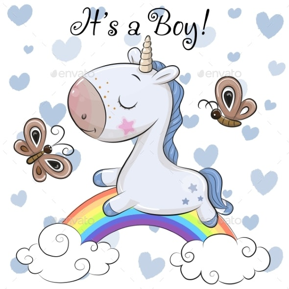 Baby Shower Greeting Card with Cute  Unicorn Boy - Backgrounds Decorative