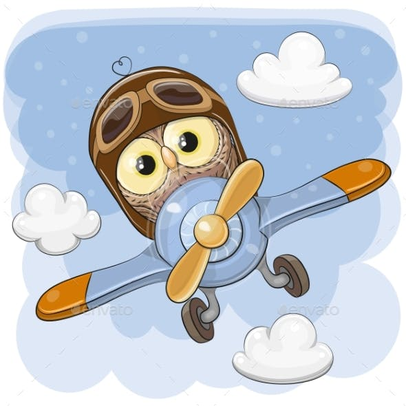 Cute Owl Is Flying on a Plane