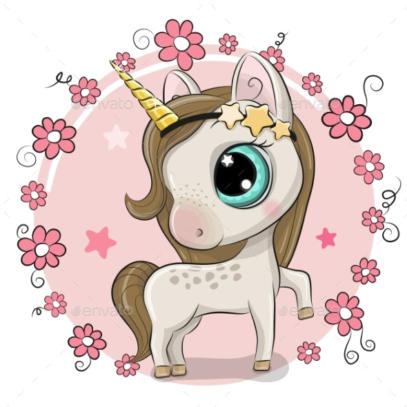 Cartoon Unicorn on a Flowers Background - Animals Characters