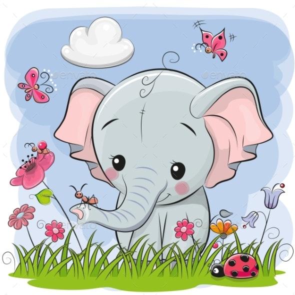Cute Cartoon Elephant on a Meadow - Miscellaneous Vectors