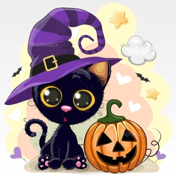 Halloween Illustration of Cartoon Cat with Pumpkin - Miscellaneous Vectors