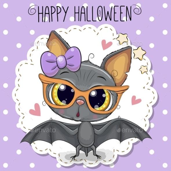 Cute Cartoon Bat with Glasses - Miscellaneous Vectors
