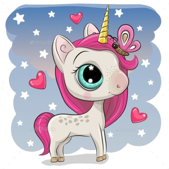 Cute Unicorn with Butterfly on a Stars Background - Animals Characters