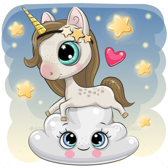 Cute Unicorn a on the Cloud - Computers Technology