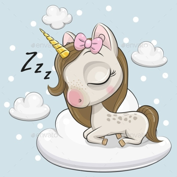 Cute Unicorn a on the Cloud - Computers Technology