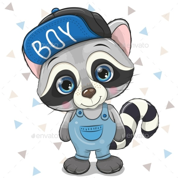 Cute Cartoon Raccoon in Cap on a White Background - Miscellaneous Vectors