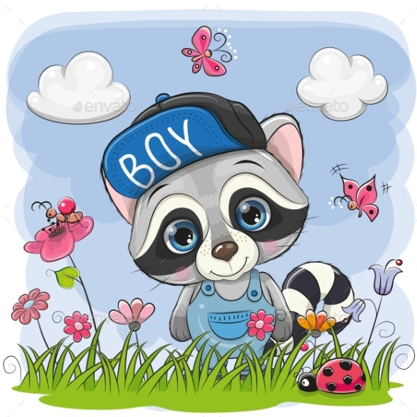 Cute Cartoon Raccoon on a Meadow - Miscellaneous Vectors