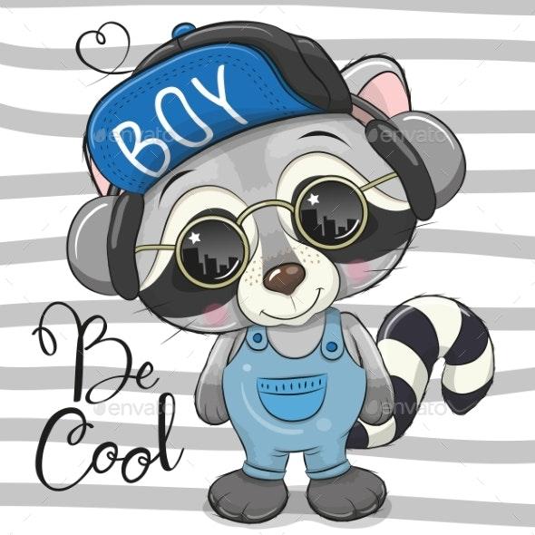Cool Cartoon Cute Raccoon with Sun Glasses - Animals Characters