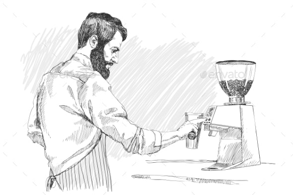 Young Barista Man - People Characters