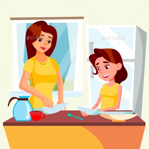 Little Girl Helping Mother Wash Dishes In Kitchen - People Characters