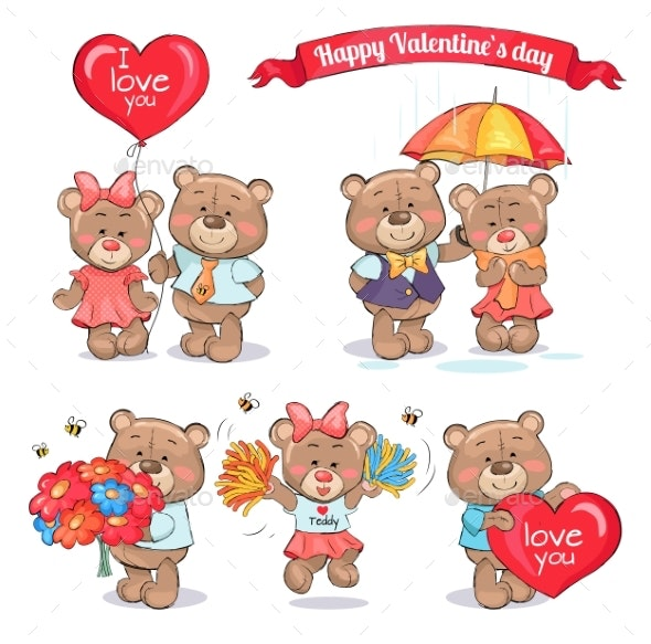 Happy Valentines Day Teddy Bear Couples in Love - Valentines Seasons/Holidays