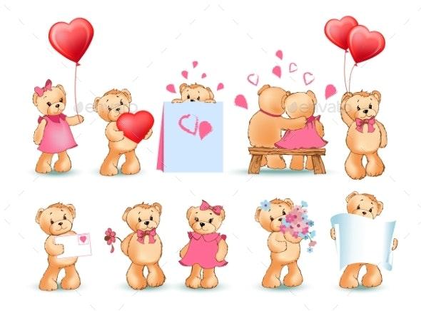Teddy Bears Set Valentine Vector Illustration - Animals Characters