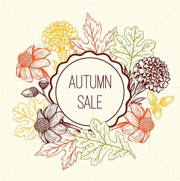 Floral Frame for Seasonal Fall Sale - Seasons Nature