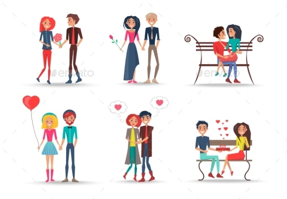 Set of Smiling Couples in Love on White Background - People Characters