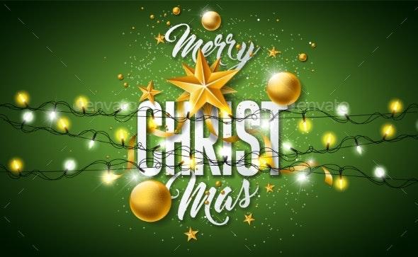 Merry Christmas Illustration with Gold Glass Ball - Christmas Seasons/Holidays