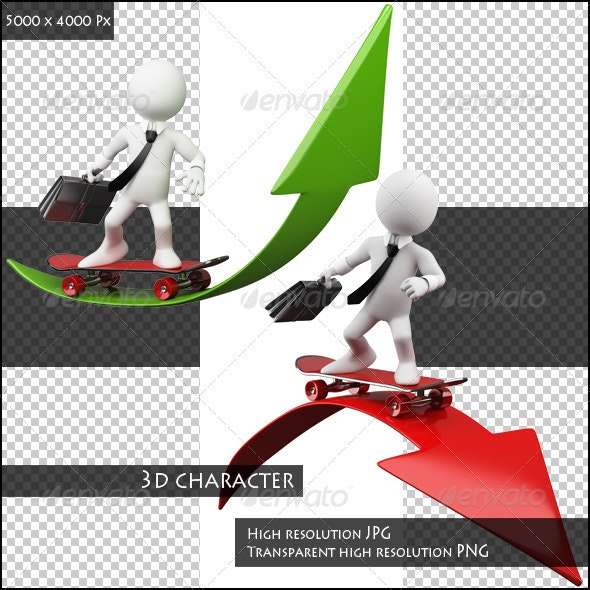 3D Businessman Skater with Arrows - Characters 3D Renders