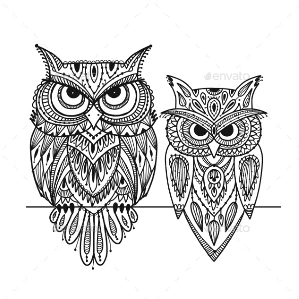 Ornate Owl Zenart for Your Design - Animals Characters
