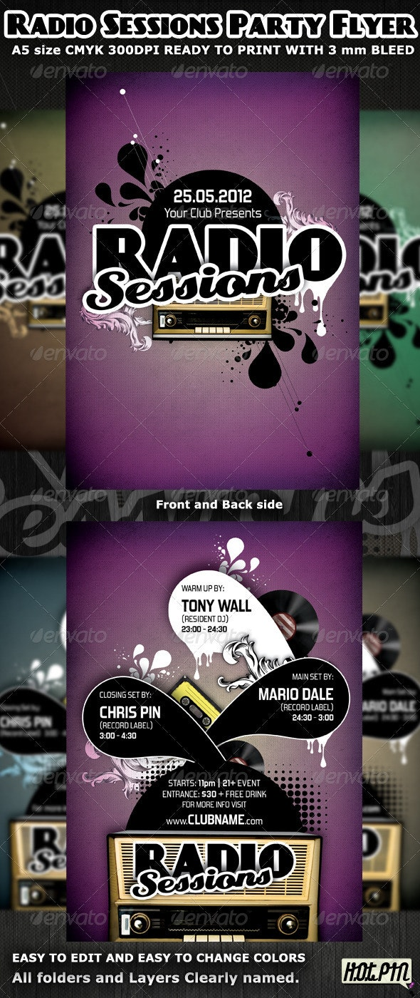Radio Sessions Party Flyer Template - Clubs & Parties Events