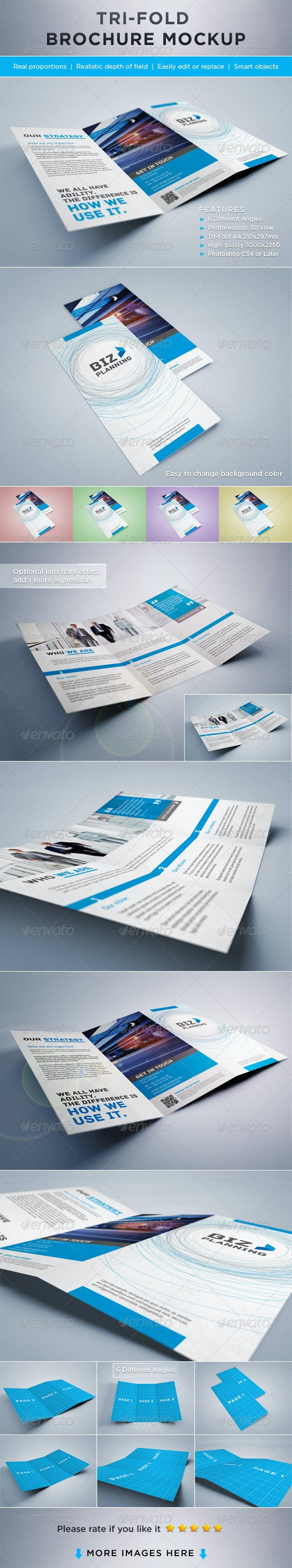 Photorealistic Tri-Fold Brochure Mock-ups - Brochures Print