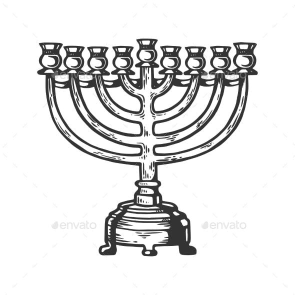 Menorah Hanukkah Engraving Vector Illustration
