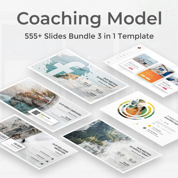 Coaching Model Pitch Deck 3 in 1 Bundle Powerpoint Template