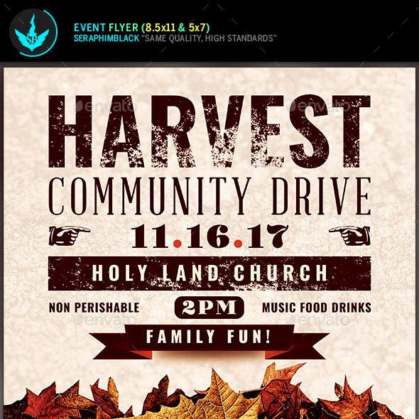 Fall Harvest Community Drive Church Flyer Template