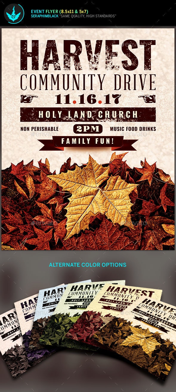 Fall Harvest Community Drive Church Flyer Template - Holidays Events