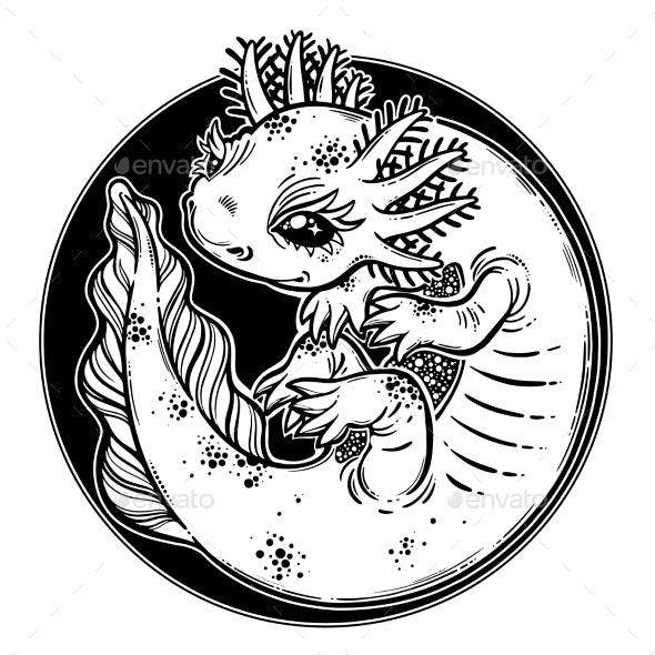 Axolotl Salamander Amphibian Animal in Line Style - Animals Characters