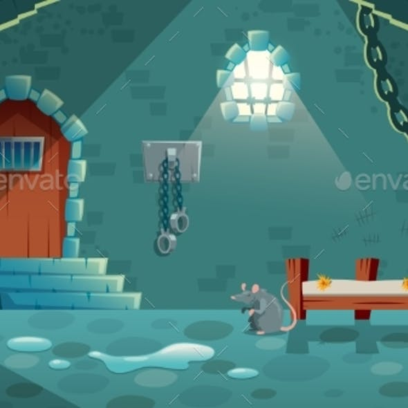 Vector Medieval Prison Cell Background