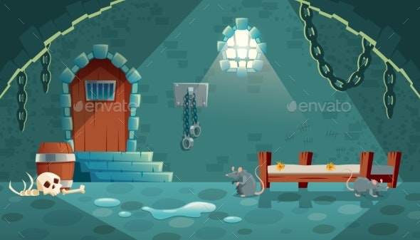 Vector Medieval Prison Cell Background - Backgrounds Decorative