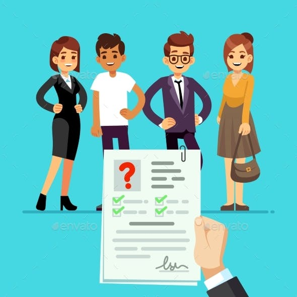 CV Form. Recruiter Choosing Candidates with Cv