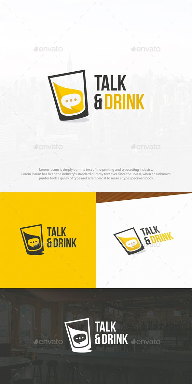 Drink & Talk Logo Template
