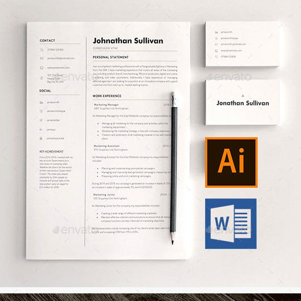Word CV Resume and Business Card