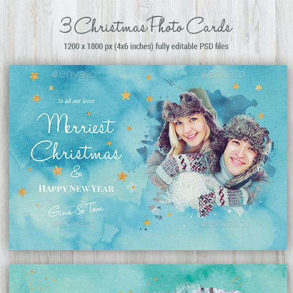 3 Watercolor Christmas Photo Cards