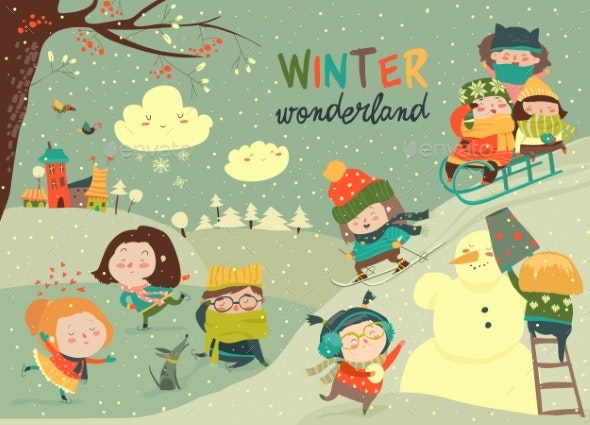 Kids Playing Winter Games - People Characters