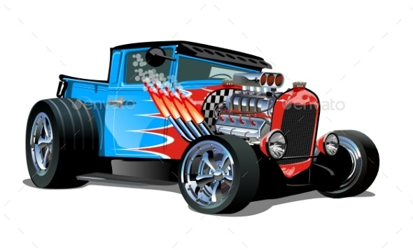Cartoon Retro Hot Rod Isolated on White Background - Man-made Objects Objects