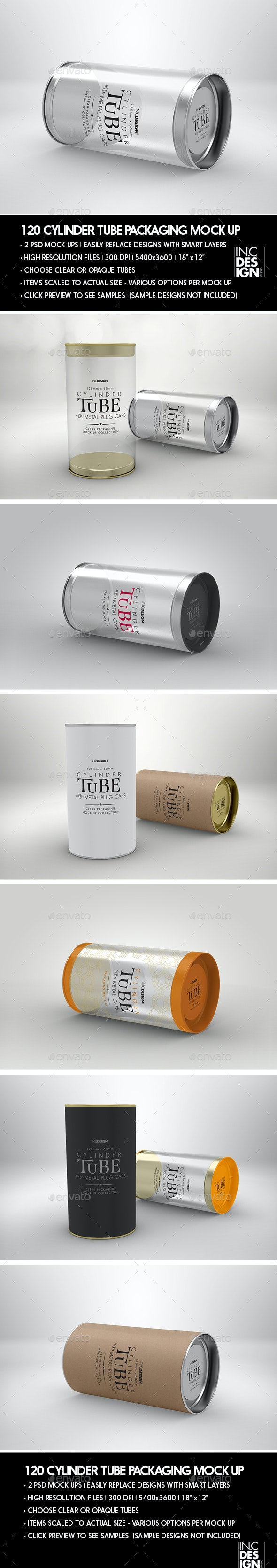 Cylinder 120mm PVC Tube Packaging with Metal Caps - Packaging Product Mock-Ups
