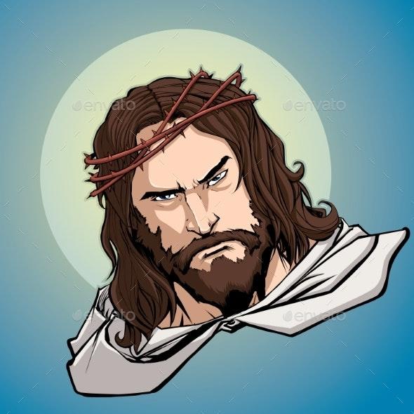 Jesus Portrait Icon - Religion Conceptual