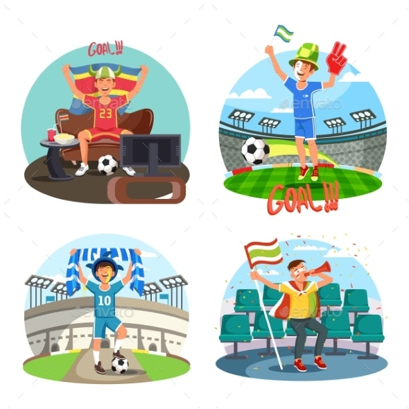 Soccer or Football Fans Celebrating and Cheering - Sports/Activity Conceptual