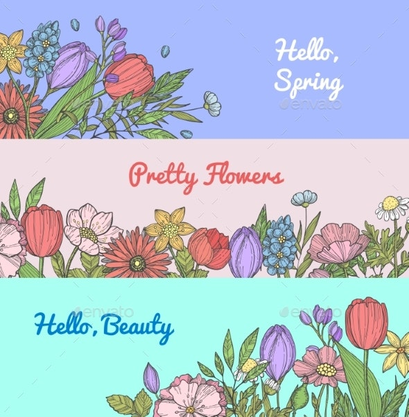 Vector Hand Drawn Flowers Web Banner Templates - Flowers & Plants Nature