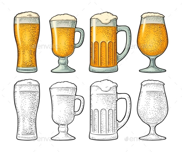 Four Different Glasses for Beer - Food Objects