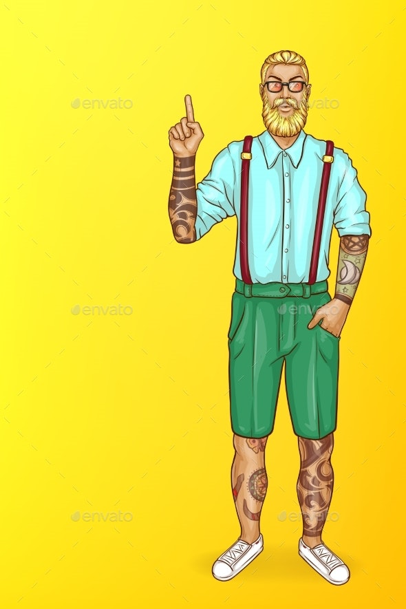 Vector Pop Art Tattooed Bearded Man Points - People Characters