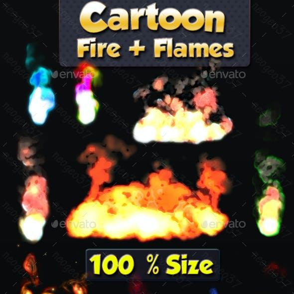 Cartoon Style Flames and Fire Sprites