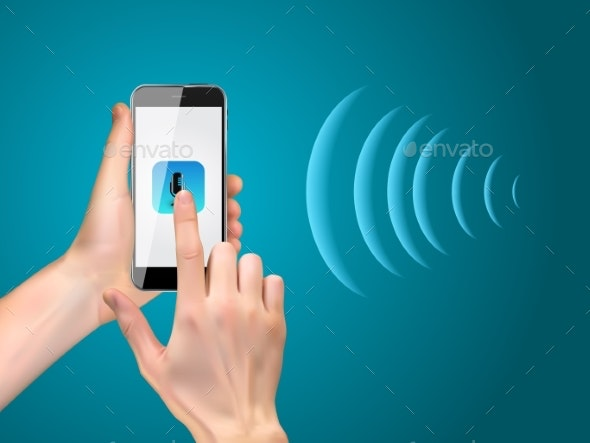 Hand with Mobile Phone with Microphone Button - Communications Technology