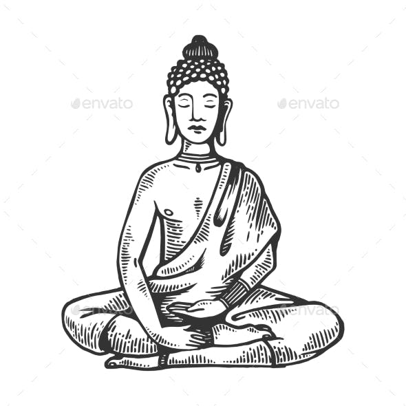 Meditating Buddha Engraving Vector Illustration