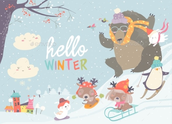 Animals Playing Winter Games - Animals Characters
